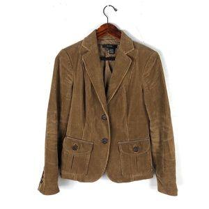 Zara blazer coat corduroy button front elbow patch